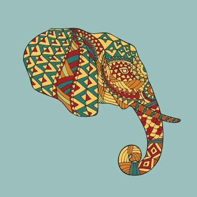 Abstract Vector Image of an Elephant's Head in Profile with Ethnic Pattern on a Gray Background. Us- Yuriy2012-Art Print