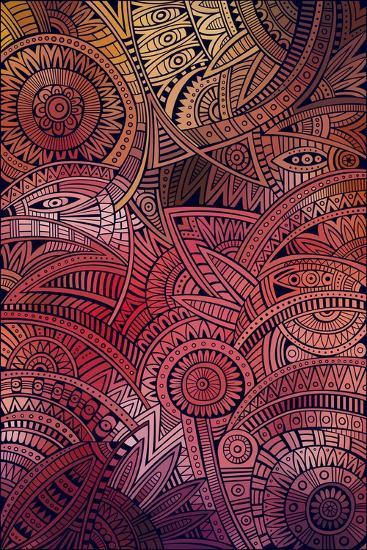 Abstract Vector Tribal Ethnic Background Pattern- balabolka-Art Print