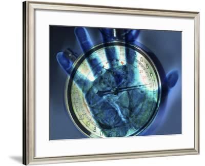Abstract View of a Blue Hand over a Stop Watch--Framed Photographic Print