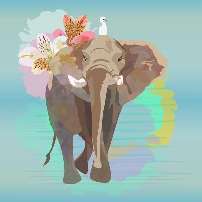 Abstract Watercolor Illustration of a Big Elephant with Small White Bird , Background Sky and the R-Viktoriya Panasenko-Art Print