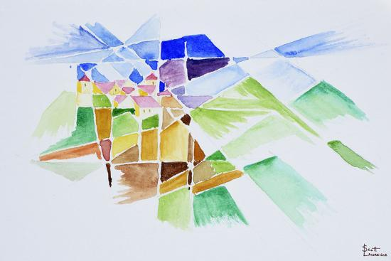 Abstract watercolor of Gourdon, Provence, France-Richard Lawrence-Premium Photographic Print