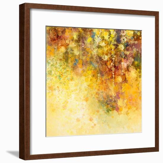 Abstract Watercolor Painting White Flowers and Soft Color Leaves-Nongkran_ch-Framed Premium Giclee Print
