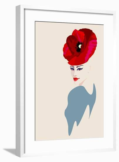Abstract Watercolor Portrait of Women in Hat Form of a Red Poppy, Beauty Fashion Logo, Makeup , Bea-Viktoriya Panasenko-Framed Art Print