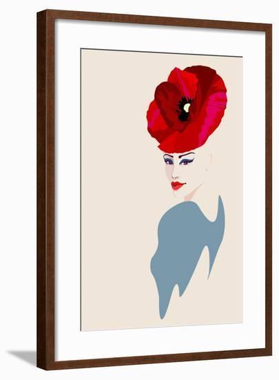Abstract Watercolor Portrait of Women in Hat Form of a Red Poppy, Beauty Fashion Logo, Makeup , Bea-Viktoriya Panasenko-Framed Art Print