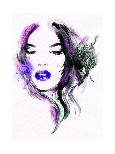Abstract Watercolor .Woman Portrait-Anna Ismagilova-Art Print