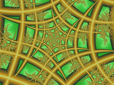 Abstract Web-Like Fractal Patterns on Green Background-Albert Klein-Photographic Print