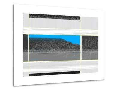 Abstract White and Blue-NaxArt-Metal Print