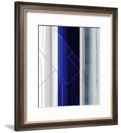 Abstract White and Dark Blue-NaxArt-Framed Premium Giclee Print