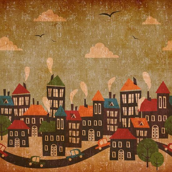 Abstract Winter City Vintage Colorful-Cienpies Design-Art Print