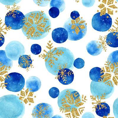 Abstract Winter Pattern with Glittering Snowflakes and Watercolor Circles on White Background. Seam-Syrytsyna Tetiana-Art Print