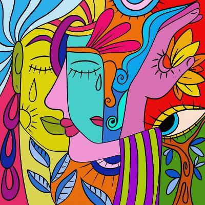 Abstract with Colorful Faces-goccedicolore-Art Print