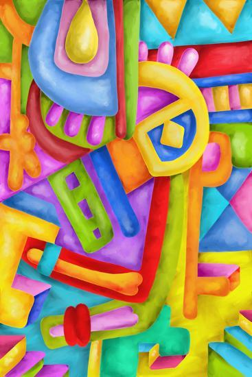 Abstract with Colorful Shapes-goccedicolore-Art Print