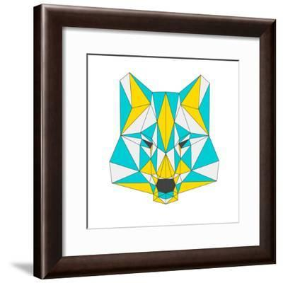 Abstract Wolf Isolated on White Background. Polygonal Triangle Geometric Illustration-vanillamilk-Framed Premium Giclee Print
