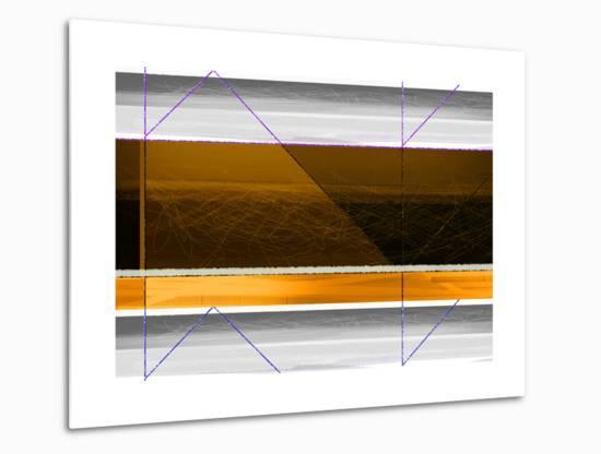 Abstract Yellow and White Lines-NaxArt-Metal Print