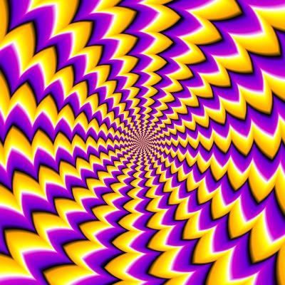 Abstract Yellow Background (Spin Illusion)-Andrey Korshenkov-Art Print
