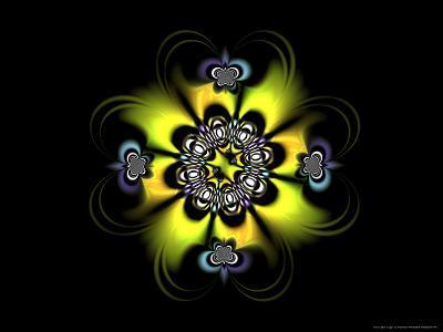 Abstract Yellow Flower-Like Fractal Design on Dark Background-Albert Klein-Photographic Print