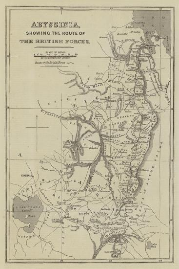 Abyssinia, Showing the Route of the British Forces-John Dower-Giclee Print