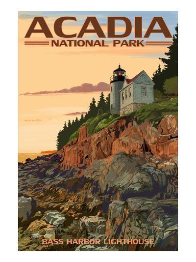 Acadia National Park, Maine - Bass Harbor Lighthouse-Lantern Press-Art Print
