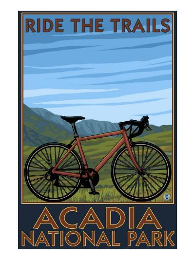 Acadia National Park, Maine - Bicycle Scene-Lantern Press-Art Print