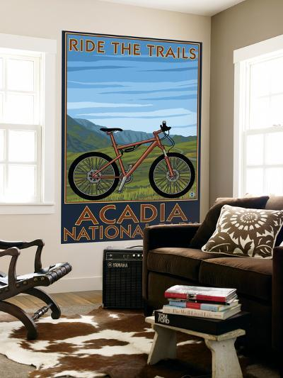 Acadia National Park, Maine - Bicycle Scene-Lantern Press-Wall Mural