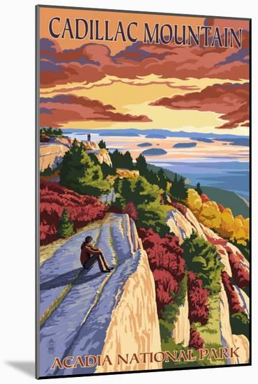 Acadia National Park, Maine - Cadillac Mountain-Lantern Press-Mounted Art Print