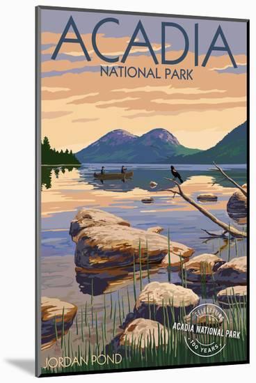 Acadia National Park, Maine - Celebrating 100 Years - Jordan Pond-Lantern Press-Mounted Art Print