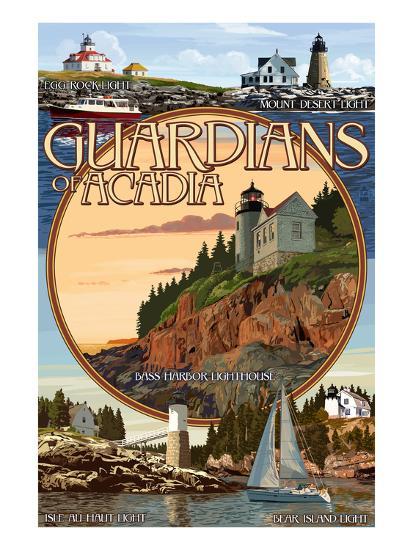 Acadia National Park, Maine - Guardians of Acadia Lighthouses-Lantern Press-Art Print