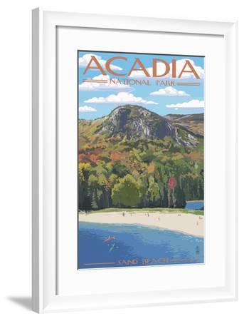 Acadia National Park, Maine - Sand Beach Scene-Lantern Press-Framed Art Print