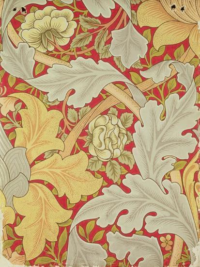 Acanthus Leaves and Wild Rose on a Crimson Background, Wallpaper Design-William Morris-Giclee Print