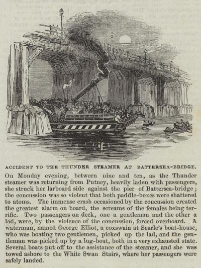 Accident to the Thunder Steamer at Battersea-Bridge--Giclee Print