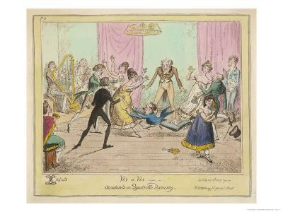 Accidents in Quadrille Dancing Mishaps to Avoid on the Dance Floor-George Cruikshank-Giclee Print