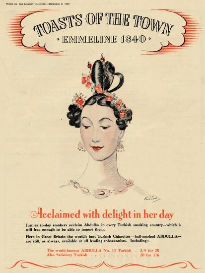 'Acclaimed with delight in her day, Toasts of the Town - Emmeline 1840', 1940-Unknown-Giclee Print