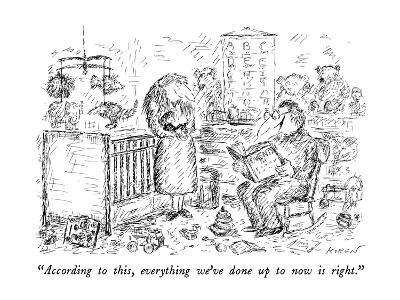 """""""According to this, everything we've done up to now is right."""" - New Yorker Cartoon-Edward Koren-Premium Giclee Print"""