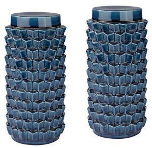Accordion Crackled Blue Jar Set
