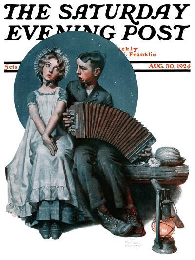 """""""Accordionist"""" or """"Serenade"""" Saturday Evening Post Cover, August 30,1924-Norman Rockwell-Giclee Print"""