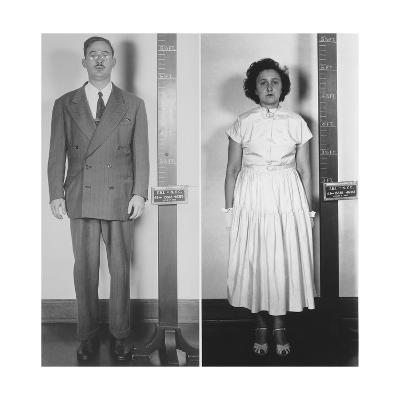 Accused Atomic Spy Julius and Ethel Rosenberg in a Standing Mug Shot, 1951--Photo