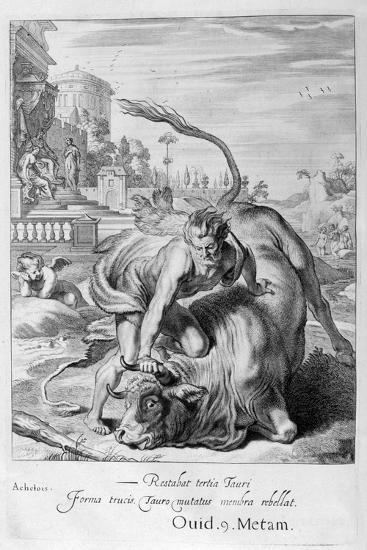 Achelous in the Shape of a Bull Is Vanquished by Hercules, 1655-Michel de Marolles-Giclee Print