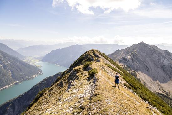 Achensee, Tyrol, Austria: Female Hiker Ridge Between The Mountains Seekarspitze And Seebergspitze-Axel Brunst-Photographic Print