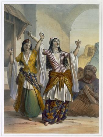 Egyptian dancing girls performing the Ghawazi at Rosetta, Egypt, 1848
