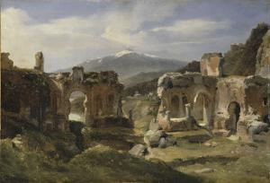 Ruine du théatre de Taormine (Sicile) by Achille Etna Michallon