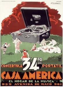 Portable Phonograph, Casa America by Achille Luciano Mauzan