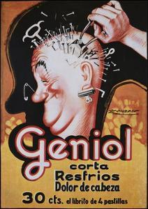 Geniol Poster with a Pierced Head by Achille Mauzan