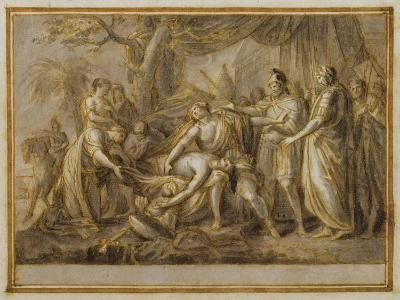 Achilles Lamenting the Death of Patroclus, 1760-63 (Pen and Ink and Wash on Paper)-Gavin Hamilton-Giclee Print