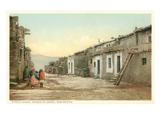 Acoma Pueblo Scene, New Mexico--Art Print