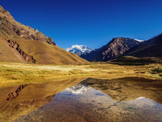 Aconcagua Mountain reflecting in the Espejo Lagoon, Aconcagua Provincial Park, Central Andes, Mendo-Karol Kozlowski-Photographic Print