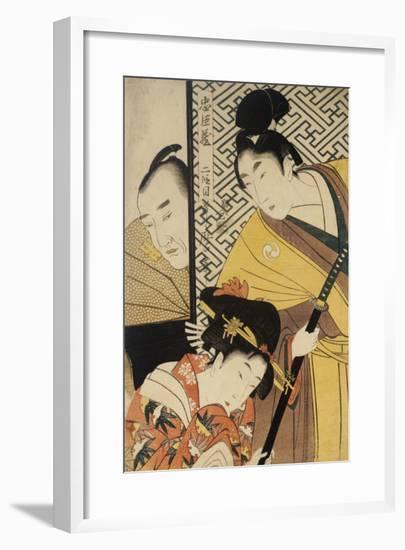 Act II of Chushingura, the Young Samurai Rikiya, with Konami, Honzo Partly Hidden Behind the Door-Kitagawa Utamaro-Framed Giclee Print