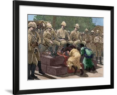Act of Submission of Ashanti King Prempeh before the British Representative. Engraving, 1901. Color-Tarker-Framed Photographic Print
