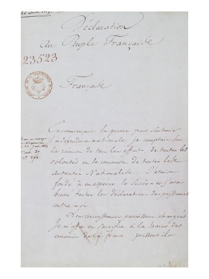 Acte d'abdication de Napoléon, 22 juin 1815--Giclee Print