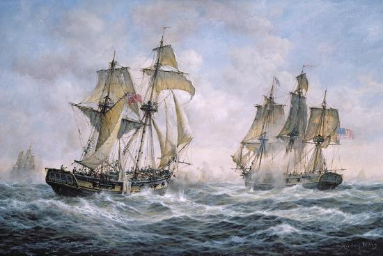 "Action Between U.S. Sloop-Of-War ""Wasp"" and H.M. Brig-Of-War ""Frolic"", 1812-Richard Willis-Giclee Print"