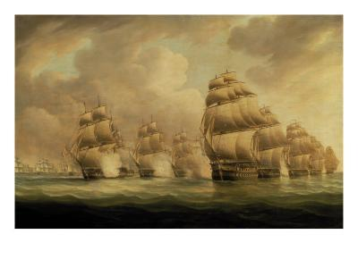 Action of Commodore Dance and the Comte de Linois off the Straits of Malacca, 15th February 1804-Thomas Buttersworth-Giclee Print